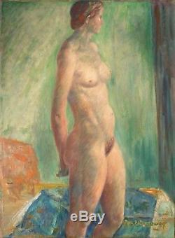 Femme nue grande peinture signée GER LANGEWEG (1891-1970) Netherland