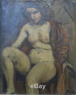 François Eberl (Prague 1887-1962) huile/bois Femme dénudée