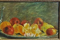 François Vernay (1821-1896), nature morte aux fruits et verseuse argent, Lyon