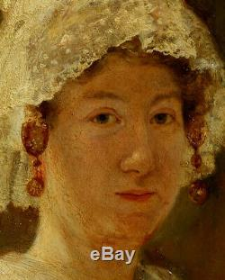 Frans Van Holder, 1906, Bénézit, Coté 3000! Jeune Femme au Bonnet de Dentelles