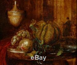 Fruits et Joueuse de Luth, 1820, Petite Ecole Flamande! Peintre à Identifier