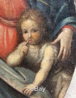 GRAND & BEAU TABLEAU XVIIe. VIERGE AVEC JEAN-BAPTISTE & L'ENFANT JÉSUS ENDORMI