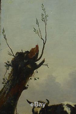 GRAND TABLEAU ANCIEN SV PAULUS POTTER ÉC. HOLLANDAISE VACHES COW PAYSAGE 17éme