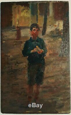 Garçonnet A La Banane Rare Ancien Petite Huile Bois Impressionniste 1900-1920