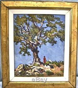 Gardienne de chèvre Kabylie 1934 Algérie P. CAPEK. Huile / bois. Cadre 55x48cm
