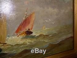 Gaston Corbier tableau peinture hsb Bretagne pêcheur en mer