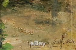 Gaston Frédéric de BURGGRAFF tableau paysage NORMANDIE pommier fleur printemps