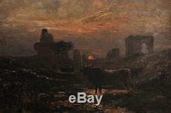 Gaston GUIGNARD(1848-1922)-Huile sur bois- Argentine-Troupeau s'abreuvant-Signé
