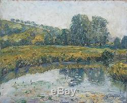 Gaston Laborde Tableau Hsp Paysage Normand Peinture 30/40