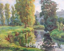 Gaston Laborde Tableau Hst Bord De Rivière Normandie Peinture 30/40