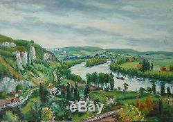 Gaston Laborde Tableau Les Endelys Bords De Seine Normandie Peinture 30/40