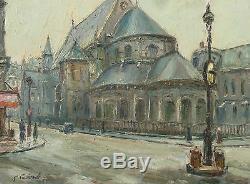 Gaston Laborde Tableau Paris Eglise Des Arts Et Metiers Peinture 30/40