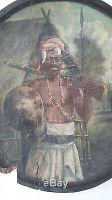 Gaston Rakotovao (1882-1941) huile sur panneau guerrier Malgache Madagascar