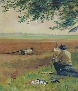 Georges DE MARCO (1906-1990). AUTOPORTRAIT, le peintre sur le motif. 1931