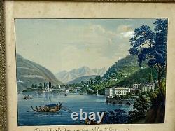 Gouache Italienne & Lac de Côme & Italie & Lombardie & Peinture & Cadre & Ancien