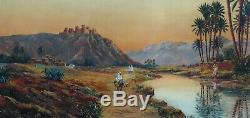 Grand & Beau Tableau Orientaliste 1940. Vaste Paysage Animé Du Sud Algérien