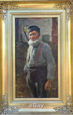 Grand & Beau Tableau Vers 1920-1930. Sympathique Portrait D'un Vieil Alsacien