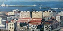 Grand & Bel Orientaliste 1920. Vue Sur Le Port D'alger. Roméo Aglietti 1878-1956