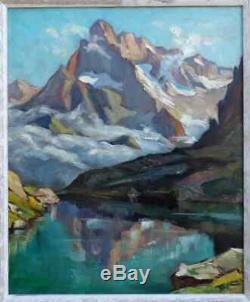 Grand & Lumineux Paysage Des Alpes 1940. Lac Petarel & L'olan Dans Les Écrins
