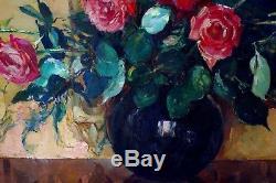 Grand tableau 1938 Fleurs Maurice F Perrot Verneuil Seine-et-Oise bouquet roses