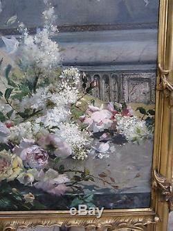 Grand trumeau bois doré peinture huile sur toile de Amédée Baudit 245 x 126 cm