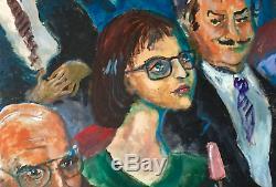 Grande Huile sur toile HST SALLE DE CINEMA Patrice François cadre bois signée
