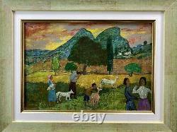 Gregoire Michonze (1902-1982) Rare Tableau Paysage Anime Origin. Encadre 1/2