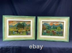 Gregoire Michonze (1902-1982) Rare Tableau Paysage Anime Origin. Encadre 2/2