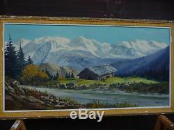 Guénard. Peinture. Montagne. Grandes dimensions. Sur panneau bois