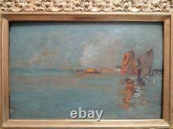 Guglielmo Ciardi superbe tableau XIXème lagune Venise huile sur bois signé cadre