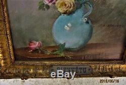 Gustave Bienvêtu(1850-1916)Huile sur boisVase de rosesCadre/plaque d'origine