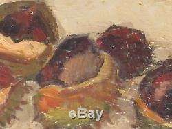 Gustave Hervigo Nature Morte Chataigne Tableau Ancien Bois 35x27 French Painter