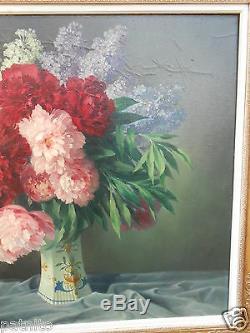 HATON. Tableau huile toile Bouquet de fleurs Cadre Restauration. 81cm x 97cm