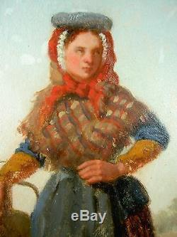 HENRI VAN SEBEN Ec. BRUXELLOISE 19è NAPOLITAINE H/P TABLEAU PORTRAIT FEMME CADRE