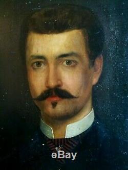 HSP PEINTURE PORTRAIT D'HOMME SECOND EMPIRE XIXème