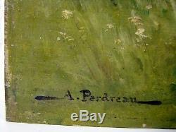 HSP XIX eme Ecole De Barbizon Paysage Bergere Poules Bourgogne signée A Perdreau