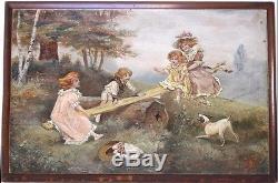 HUILE SUR BOIS. J Febray, 1910. La balançoire. Hp884