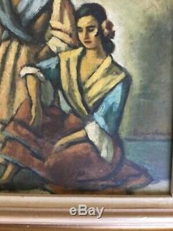 HUILE SUR PANNEAU ORIENTALISTE de Pierre BOUCHERLE les gitanes 27 cm x 22 cm