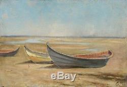 HUILE S/PANNEAU. XIXe. Georges-Philibert MARONIEZ. Barques sur la plage