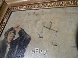 H. DAUMIER. Les gens de justice. Huile sur panneau 19 ème siècle