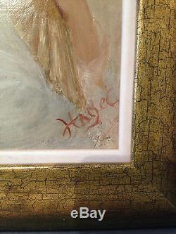 Haget, sarah Bernhardt, huile Sur Panneau, début XX°