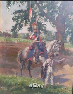 Henri Chartier Napoleon Soldat Halte Genre Panneau Huile Francais Art Tableau