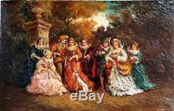 Henri Rolland Monticelli personnages dans le parc du chateau huile sur panneau