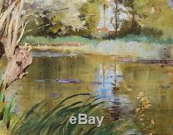 Henri ZUBER tableau paysage animé impressionniste bord rivière Alsace huile