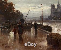 Henry MALFROY tableau paysage Notre-Dame Paris quais Seine impressionnisme pluie