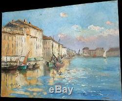 Henry Malfroy Savigny dans le goût le vieux port de Toulon huile sur panneau