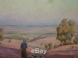 Henry Marie Charry Tableau Bois Circa 1920 Peintre Lorrain Bergere Et Moutons