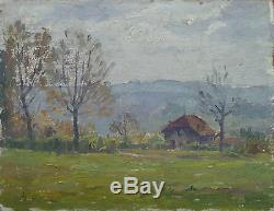 Henry Marie Charry Tableau Circa 1910 Peintre Lorrain Paysage De Montagne