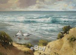 Honore Camos Tableau Peintre Paysage Dunes Mouettes Plage Bord De Mer Provence