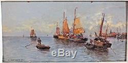 Hsp huile sur panneau marine Georg Fischhof voilier tableau peinture
